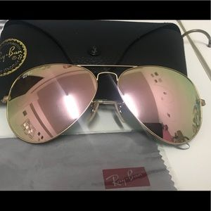 Ray ban aviators rose gold sunglasses 3025 58mm